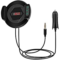 Bluetooth FM Transmitter, Fm Bluetooth Transmitter, Radio Transmitter with Air Vent Mount Cell Phone Holder, Car Charger, USB Port, and Built-in Microphone for Music Playing and Hands-free Calls