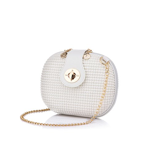 Realer Small White Cute Purses and Handbags Wallet with Chain Strap for Teens Girls Crossbody