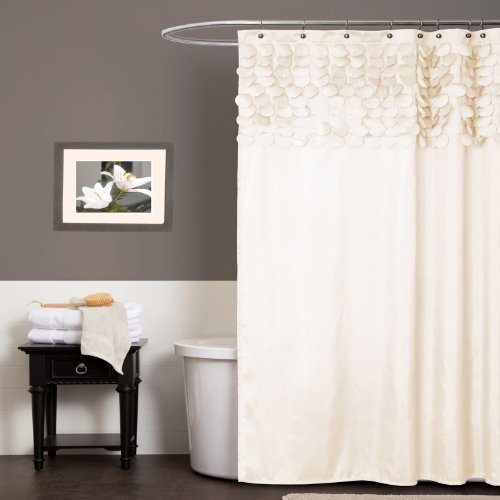 (Lush Decor Lillian Shower Curtain | Textured Shimmer Circle Design Bathroom, 72