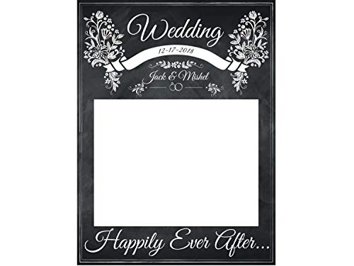 Large Chalkboard Wedding Decoration, Chalk Board, Happily Ever After Wedding Photo Booth Frame - Sizes 36x24, 48x36; Personalized Wedding wedding photo booth props, Handmade Party Supply, Selfie prop ()