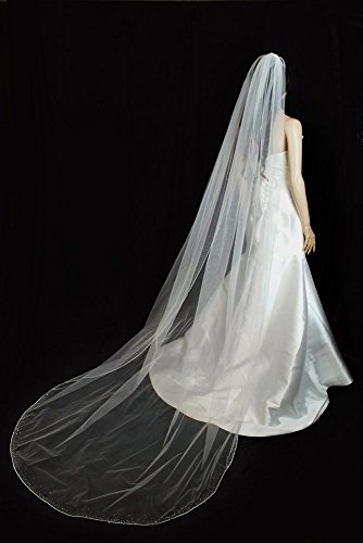 Bridal Veil Ivory 1 Tier Cathedral Length Edge With Beads And Crystals by Velvet Bridal (Image #5)
