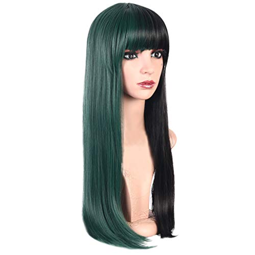 Iusun Wigs, 23'' Women's Long Straight Black and Green Heat Resistant Synthetic Wigs Long Curly Full Hair Wig Cosplay Costume Wigs Daily Party Anime Hair Wig High Temperature Fiber (A)