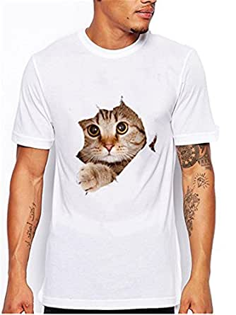 Berax - Camiseta - para Hombre Blanco Brown Cat Small