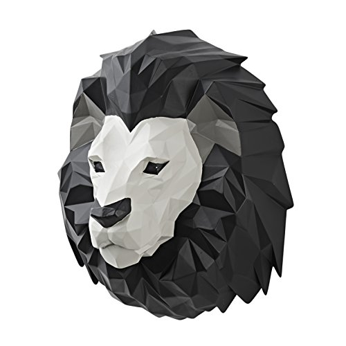 Vistella 3D Lion Head Wall Art Decor - Modern Origami Wall Mountable Resin Animal Head - Multi Tone Digital Pixel Design - Home Indoor Abstract Decorative (Lion Head Ornament)