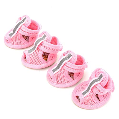 PEGASUS SELMAI Leisure Breathable Mesh Chihuahua Shoes Non Slip Pet Dog Sandals Summer Pink M,for Small Dog Cat Puppy