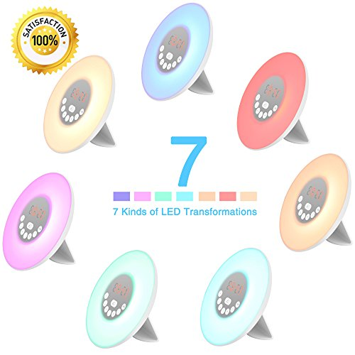 YGold Alarm Clock Wake Up Light Sunrise Sunset Simulation with FM Radio Natural Sounds and Snooze Function 7 Colors 10 Brightness Touch Control and USB Charge for Kids or Bedroom by YGold (Image #1)