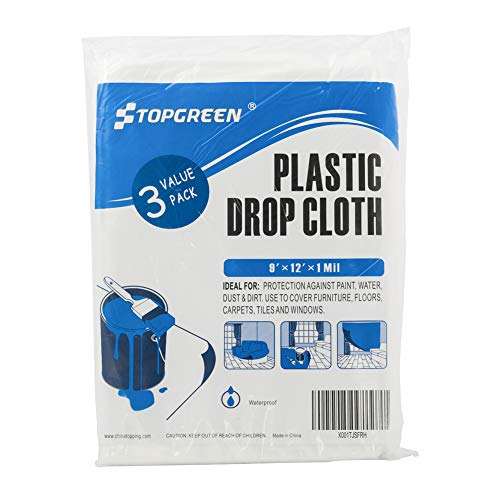 TopGreen 3 Pack Plastic Drop Cloth 9 Foot by 12 Foot Clear Tarp Plastic Sheeting Plastic Painting Tarp Patio Furniture Cover (Drop Bedding Cloth)