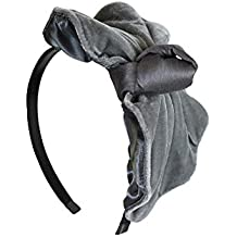 Fancy Grey Velvet Bow with Silk Knot Headband for Women & Girls