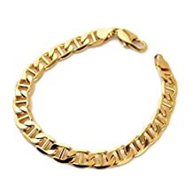 CS-DB 18K Gold Real 18k Yellow Gold Filled Bracelet Chain Carved Classic Link Solid Man's Gift