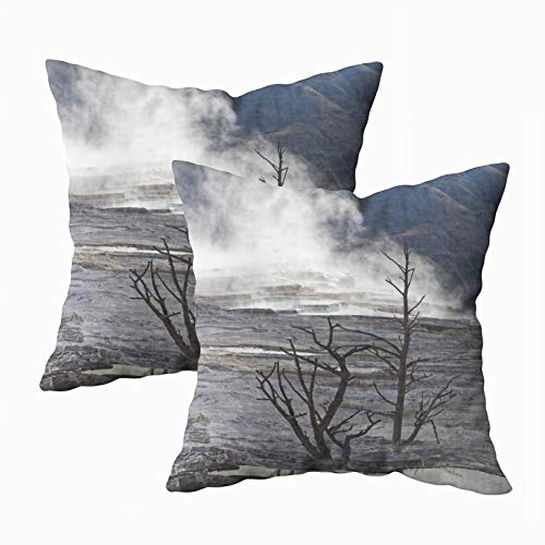 ROOLAYS Art Pillow Case, Square Throw Pillowcase Covers 18X18Inch hot Springs Large Complex hot Springs Hill Travertine in Yellowstone National Park is a Both Sides Farmhouse Decor Cushion ()