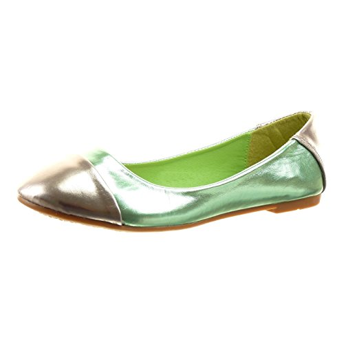 Sopily - Zapatillas de Moda Bailarinas Tobillo mujer brillantes Talón Tacón ancho 1 CM - plantilla sintético - Verde