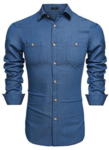Aulei Herren Jeanshemd Figurbetont fashion casual Denim Shirt Langarm Unifarbe blau oder schwarz