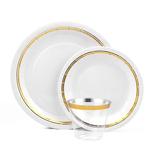 Disposable Gold Plates and Cups | Set for 50 Guests for Fancy Parties | Gold Lined Accent Dinner and Dessert Paper Plates and Plastic Cups Plus Bonus Plastic Ice Scoop Included 4 Your Party Supplies ()