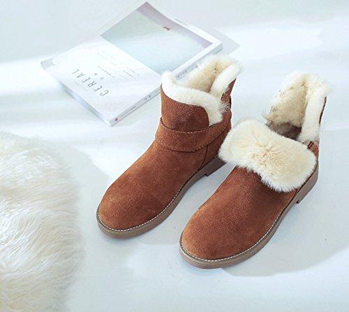 Brown Velluto Invernali Piatti Pelle Donna Vera Stivali Cotone Calda Più GSHGA In Neve Lana Stivali In Da Da In US8wv