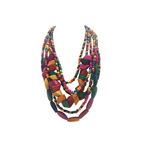 - Halawly Multicolored Beaded Wood Bead Layered Necklace (Multicolor)