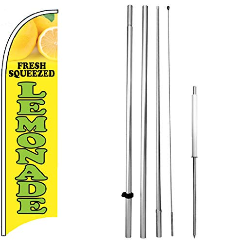 4Less Fresh Squeezed Lemonade - Windless Feather Swooper Flag Banner Sign Kit yb-h