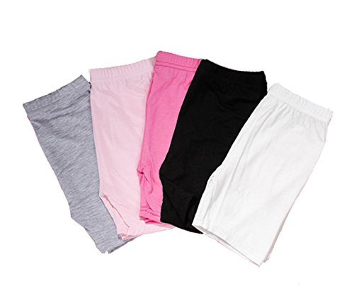 2-8 Years Old Girls Solid Color Biking Shorts Safety Boyshort for Toddlers 5 Pack by YUMILY