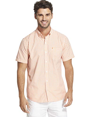 (IZOD Men's Breeze Short Sleeve Button Down Gingham Shirt, Melon, Medium)