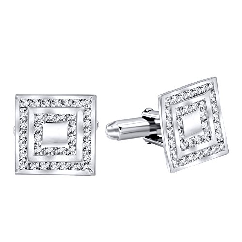 - Men's Sterling Silver .925 Square Cufflinks with Princess-Cut Cubic Zirconia Stones, Platinum Plated, 13.2 mm. By Sterling Manufacturers