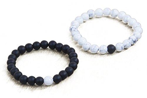 Leune Accessories | Long Distance Couples Bracelets for Boyfriend and Girlfriend | Healing Stones Bracelets 8mm Matte Agate White Howlite (White/Black)