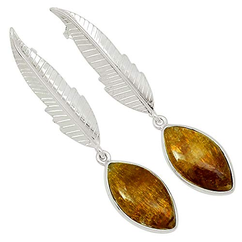 Xtremegems Eagle Feather - Golden Cacoxenite 925 Sterling Silver Earrings Jewelry 2 3/8