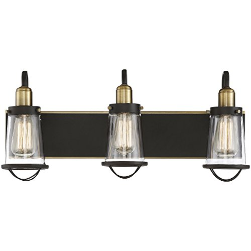 (Savoy House 8-1780-3-79 Lansing 3-Light Bathroom Vanity Light in an English Bronze/Warm Brass Finish with Clear Glass (24