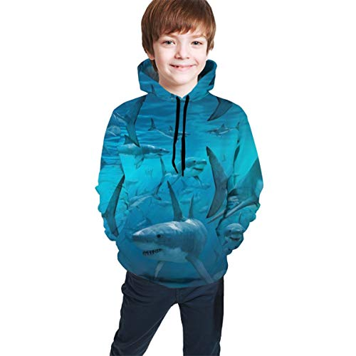 Fitted Pullover Sweatshirt for Teen Girls Boys, Underwater Shark Group Sea Blue Hoodies with Pocket Athletic Sport Tops for Fishing Riding Travel