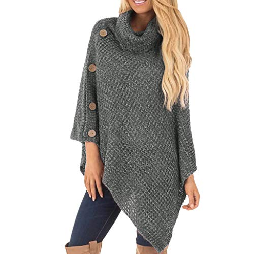 Knitted Sweaters, Misaky Women Casual Turtle Neck Poncho with Button Irregular Hem Pullover (Large, Dark Gray)