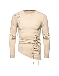 Minikoad_Men Coat Men Fashion Solid Long Sleeve T-Shirt, Male O-Neck Loose Tee Shirt Blouse Tunic Tops Sport Fitness Tops