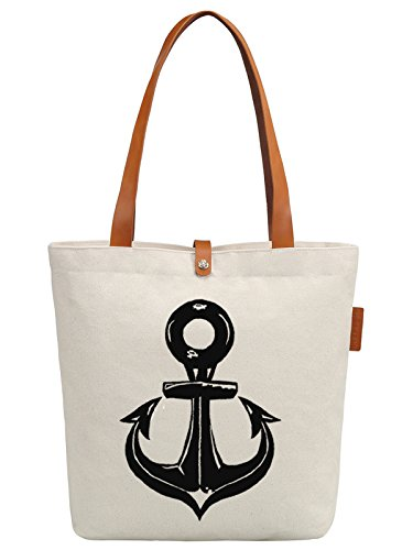 So'each Women's Ship's Anchor Graphic Top Handle Canvas Tote Shoulder Bag
