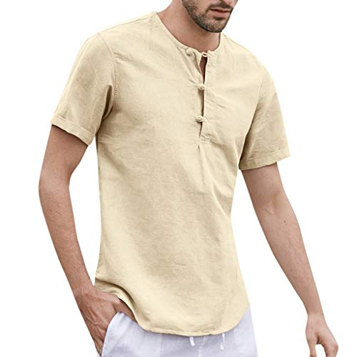 FONMA Men's Baggy Cotton Linen Button Solid Short Sleeve O-Neck T Shirts Tops Blouses Khaki ()