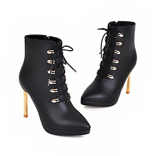 noir blanc haut haut bout cheville femmes de sexy similicuir bottes habillées pointu en a Bottes bottes lacets Talon pour de moto pfRnAv