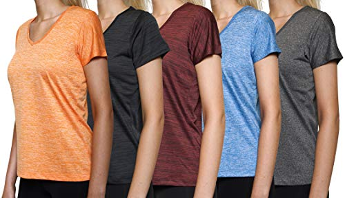 (5 Pack: Womens V Neck T-Shirt Ladies Yoga Top Athletic Active Wear Gym Workout Zumba Exercise Running Quick Dry Fit Dri Fit Clothes - Set 2,XXL)