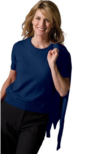 Jewel Neck Shell (Edwards Garment Women's Jewel Neck Long Sleeve Cardigan, NAVY, S)