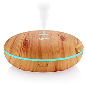 Housmile Essential Oil Diffuser 350ml Ultrasonic Humidifier Aromatherapy Diffuser with Cool Mist & Color Change LED light, Wood Grain