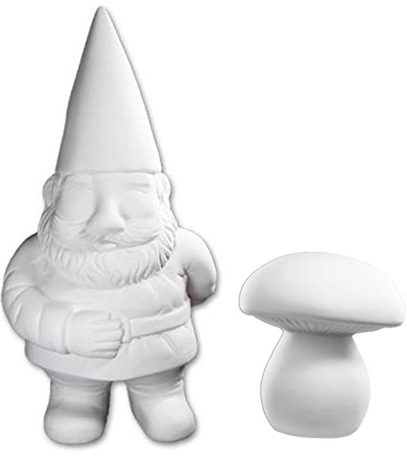Ceramic Garden Gnomes (Super Huge George the Garden Gnome And Mushroom Set - Paint Your Own Ceramic Keepsake)