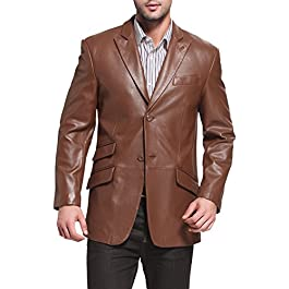 BGSD Men's Noah 2-Button Lambskin Leather Blazer (Regular Big & Tall and Short)