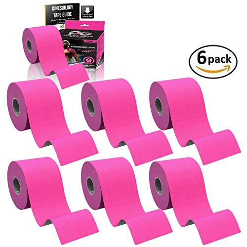 Physix Gear Sport 6 Pack Kinesiology Tape - Free Illustrated E-Guide - 16ft Uncut Roll - Best Pain Relief Adhesive for Muscles, Shin Splints Knee & Shoulder - 24/7 Waterproof Therapeutic Aid (Pink)