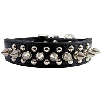 """8""""-10"""" Faux Leather Spiked Studded Punk Dog Collar 7/8"""" Wide for Small/X-Small Breeds and Puppies,Black"""
