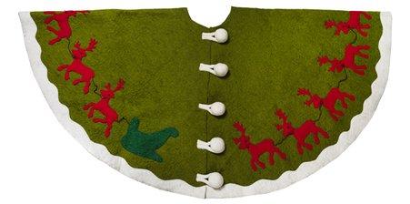 Arcadia Home TF1003 Reindeer Christmas Tree Skirt, Green