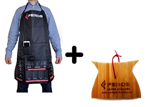 FEROS KIT - (2 Items!) FEROS Cheat Sheet BBQ Apron + Mini Safer Scraper Wood BBQ Wooden Grill Cleaner