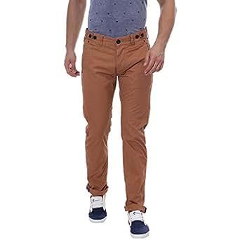 Breakbounce Brown Slim Fit Trousers Pant For Men