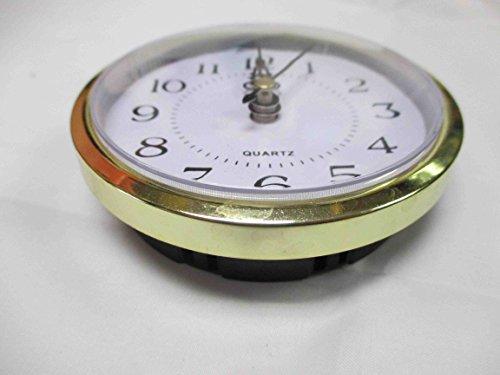Gold Plastic Rim Quartz Clock Insert Arabic Numbers White Face Outside Diameter 89mm/ 3.5 in (Face Arabic Insert)