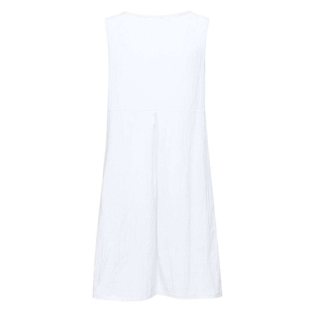Hot!Womans Cotton and Linen with Pocket Tank top Dress Ninasill Monochrome Sleeveless Short Dress Casual Large Size Skirt