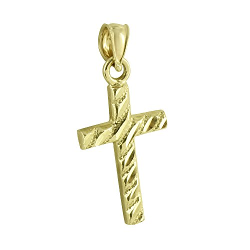 10K Yellow Gold Cross Pendant Stripes Design Jesus Crucifix Brand New Mens (Cross Gold Bling)