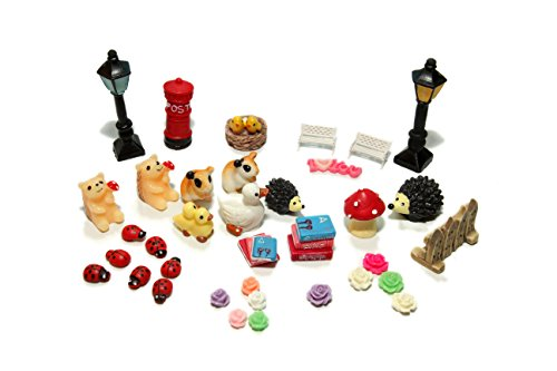 48pcs Fairy Garden Dollhouse Miniature Ornament DIY Kit Christmas Gift with Storage Box