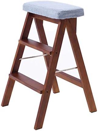 折りたたみ式木製ラダースツール多機能折りたたみ式デュアルユースアンチスリップホームライブラリ3ステップ150kg容量洗えるパッド(ブルークッション)(色:ブラウン)