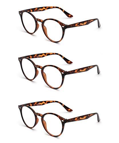 (JM Round Reading Glasses Set of 3 Quality Readers Men Women Glasses for Reading +1.5 Tortoise)