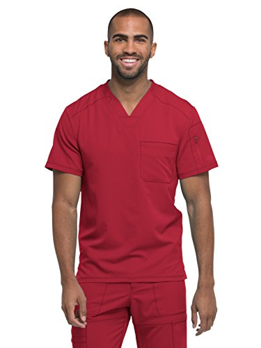 Dickies Dynamix Men's V-Neck Solid Scrub Top X-Small Red