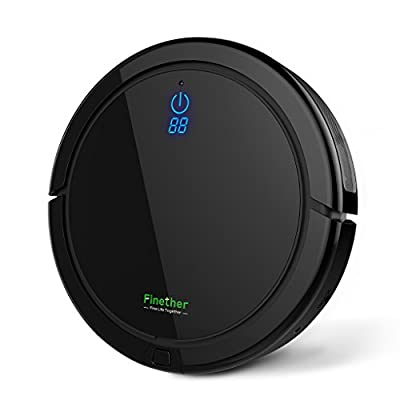 Finether Floor Vacuum Cleaner, Floor Cleaning Robot, Remote Control with Replacement Mopping Cloths for Wood, Tile, Marble, Carpet Flooring, Black